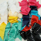 "6"" Tail Gator Clip Bows w/ Sequin Edge & Crystal Stone Center .54 ea"