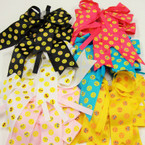 "6"" Tail Gator Clip Bows Emoji Prints w/ Crystal Stone Center .54 ea"