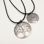 Leather Cord Necklace w/ Metal Tree of Life & Message Pend. 24 per pack .33 ea