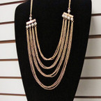 "28"" Gold & Silver 4 Line Fashion Necklace w/ Pearls .56 ea"