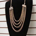 "28"" Gold & Silver 4 Line Fashion Necklace w/ Pearls .56 ea"