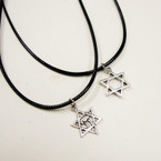 Leather Cord Necklace w/ Silver Star of David Pend. 24 per pack .33 ea
