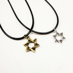 Leather Cord Necklace w/ Gold/Silver Star of David Pend. 24 per pack .33 ea