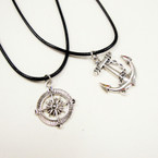 Leather Cord Necklace w/ Silver Compass & Anchor Pend. 24 per pack .33 ea