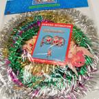 Tinsel Wreath & Santa Hanging Mobile 26 per pk ONLY .25 ea