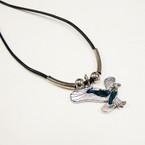 Black Cord Necklace w/ Paua Shell Flying Eagle Pend. .54 ea