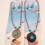 Tropical Theme Cord Wood Necklace Set .50 ea