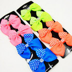 4 Pack Neon Color Gator Clip Bows Poka Dot w/ Stone Center .54 per set