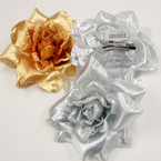 "4.5"" Gold & Silver Flower Bow 3 in 1 Use .54 ea"