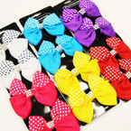 4 Pack Bright Color Gator Clip Bows Poka Dot w/ Stone Center .54 per set
