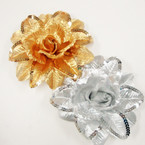 "6"" Gold & Silver Flower Bow w/ Sequins 3 in 1 Use .56 ea"