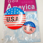 2 Pack USA Flag Buttons 12-2 pks per bag .25 ea set