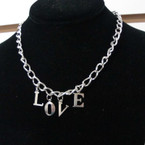 "16"" Silver Choker Chain Necklace w/ LOVE Letter Pendant  .42 ea"