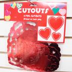 6 Pack Asst Size Foil Red Hearts 24-6 pks per bx .49 ea set