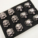 Cast Silver 2 Style Men's Skull Rings 12 per bx @  .54 ea