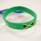 100% Silicone Jamaica Band Bracelets 12 per pk .25 ea