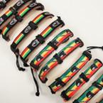 Teen Leather Bracelets Freedom Rasta Theme @ .52 ea