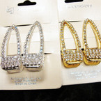 "2 Pack 2"" Gold & SIlver Hair Clip w/ Clear Crystal Stones .54 per set"