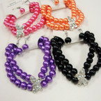 2 Pack Glass Bead Bracelet Set w/ Crystal Stone Butterfly .50  per set