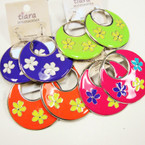 "2"" Colorful Round Flower Pattern Fashion Earrings @ .25 ea"