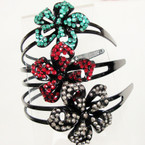 2 Line Black Headbands w/ Acrylic Stone Flower  @ .25 ea