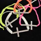 Handmade Macrame Bracelet w/ Silver Crystal Stone Cross .54 ea