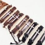 Popular Teen Leather Bracelets w/ Cry. Stone Silver Cross .54 ea
