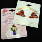 Crystal Stone Red Hat Earrings plus Tac Pin sold by set @ $ 1.25 ea set