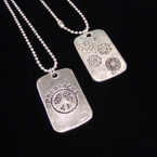 """16"""" Silver Ball Chain Necklace w\ Peace/Flower Dog Tag Pendant .50 ea"""