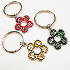 Silver Metal Spice Colored Flower Keychains 12 per pk @ .25 ea