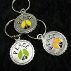 Silver Metal Bottle Cap Peace  Keychains 12 per pk @ .33 ea