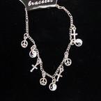 SIlver Chain Multi Charm Bracelet 12 per pk @ .50 ea