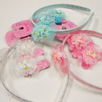 Girl's Wrapped Headband w/ Bow & Pony Oh Set @  .33 per set