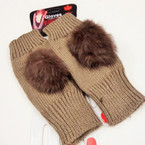 Best Quality Fingerless Knit Gloves w/ Fury Pom Pom 12 pairs per pk $ 2.00 pair