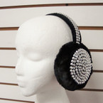 Blinged Out Blk Fur Ear Muffs w/ Gold/Sil Metallic Studs sold by dz $ 2.50 ea
