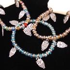 Crystal Beaded Stretch Bracelet w/ 5 Silver Owl Charms .54 ea
