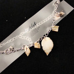 Silver Chain Anklet w/ Cry. Stones & Mixed Shells .50 ea