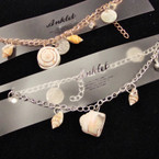 Gold & Silver Chain Anklet w/ Cry. Stones & Mixed Shells .50 ea