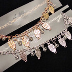 Gold & Silver Chain Anklet w/ OWL  Charms .50 ea