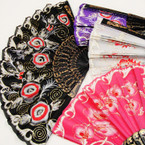 "9"" Asst Color Blk Handle Fashion Hand Fan w/ Flower Design  .54 ea"