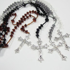 "36"" 4 Color Flat Cry. Look Bead Rosary w/ Silver Cross w/ JESUS .54 ea"