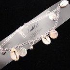Silver Chain Anklet w/ Cry. Stones & Mixed Shells (5) .50 ea