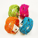 18 Strand Bright Color Seed Bead Bangles .55 ea