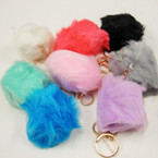 "Trendy 3"" Faux Fur Ball Keychain w/ Clip Asst Colors .56 ea"
