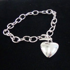 Silver Link Fashion Bracelet w/ Puff Heart Charm .54 ea