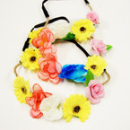 Popular 5 Mixed Style Flower Headbands w/ Elastic Back .54 ea