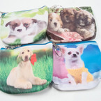 "4.5"" DBL Side Print Dog Theme Zipper Coin Purse Keychain .56 ea"