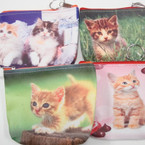 "4.5"" DBL Side Print Cat Theme Zipper Coin Purse Keychain .56 ea"
