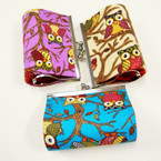 "4"" Asst Color Snap Closure Coin Purse Owl Print .56 ea"