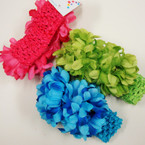 "1.5"" Crochet Stretch Headband w/ DBL 3"" Flowers .54 ea"